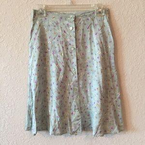 •90s Vintage High Waisted Flare Floral Skirt